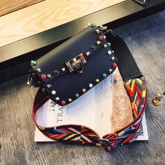 Kecil persegi warna baru tas bahu tas wanita (Hitam)