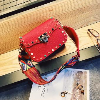 Kecil persegi warna baru tas bahu tas wanita (Merah)