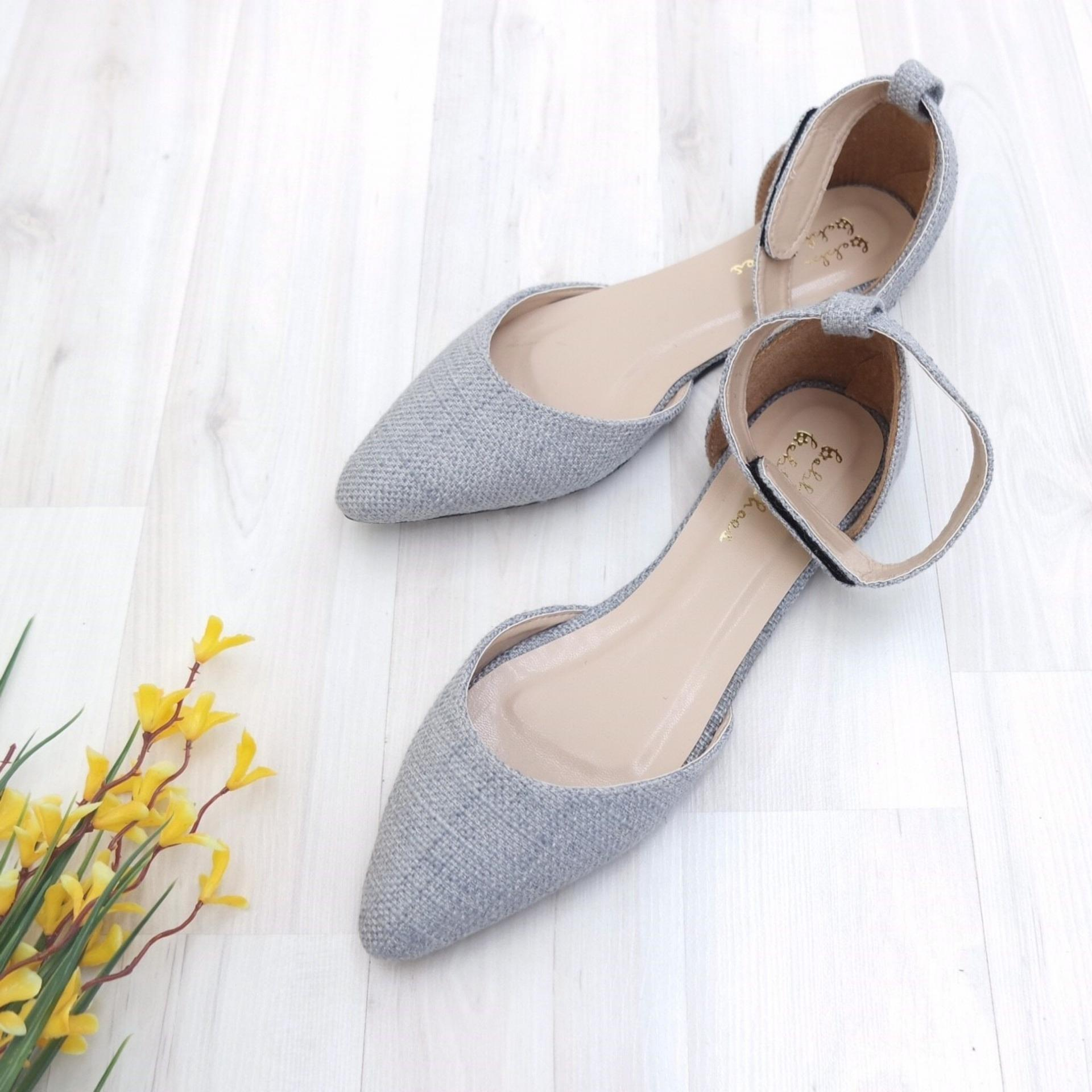 KelinciMadu-Canvas Slip Flatshoes-Grey .