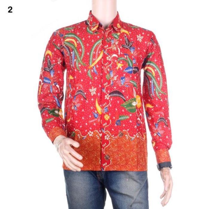 Flash Sale Kemeja Batik Pria Lengan Panjang Madura Jaya - Merah - Katun  Primisima 35e426a8fd