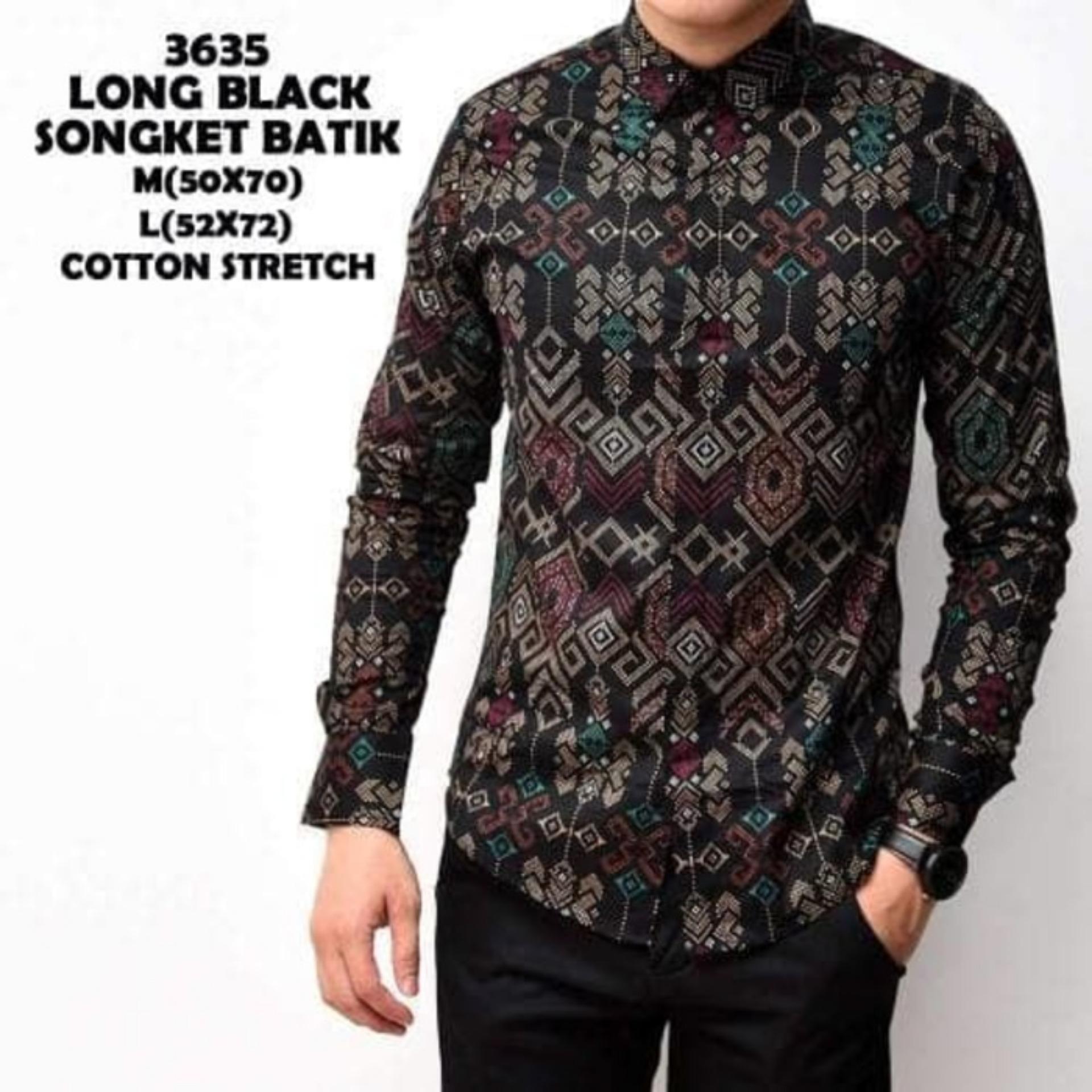 ... Kemeja Batik Songket Pria Black Panjang Kantor Slimfit Baju Batik