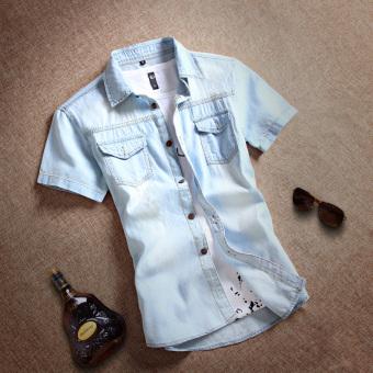 Kemeja Jeans Pria Model Tipis Lengan Pendek Trendi Versi Korea (Model dasar-biru muda