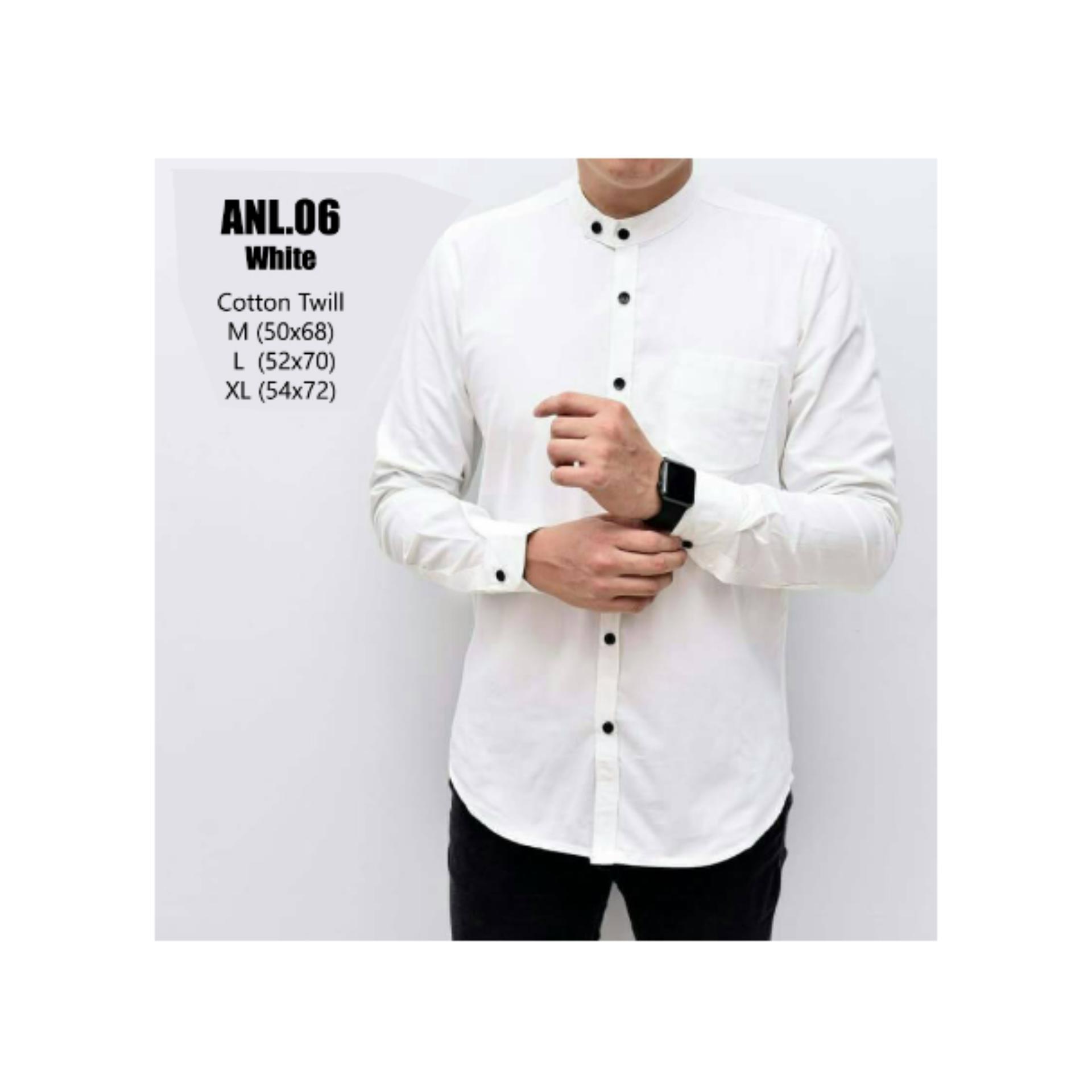 Pencari Harga Kemeja Katun Pria Lengan Panjang Putih Polos Model