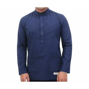 3K Fashion Kemeja Muslim - Baju Koko - Cotton Povlin - Navy