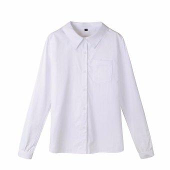 Gambar Kemeja Putih Polos Lengan Panjang Saku satu
