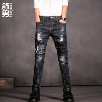 Anggaran Terbaik Kepribadian hitam pakaian pria Slim celana celana jeans (Biru tua) Cari Bandingkan