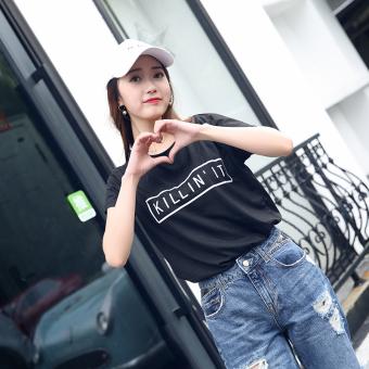 Kepribadian perempuan lengan pendek leher bulat surat t-shirt katun t-shirt (Hitam