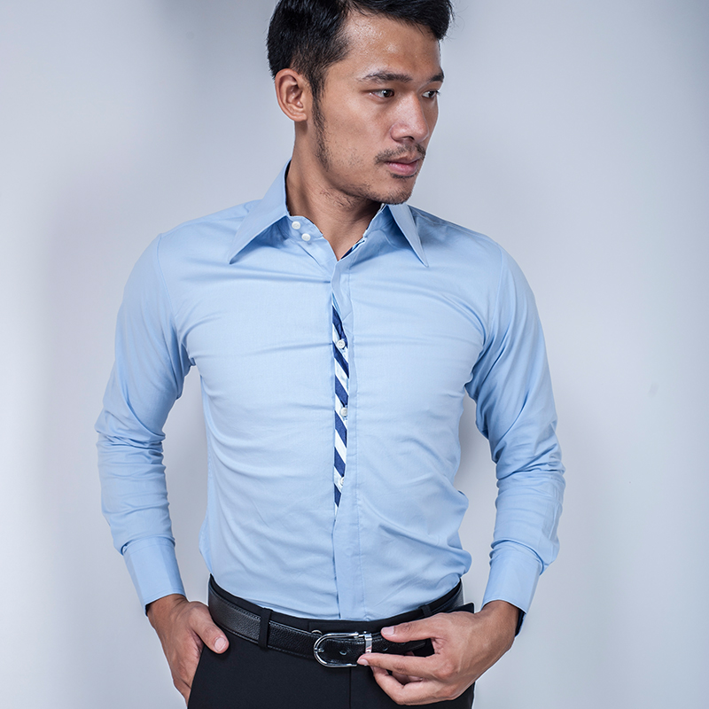 Kerah persegi versi Korea dari pria Slim kemeja katun kemeja (Z102 [merah muda]