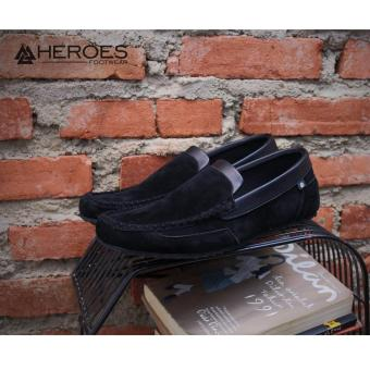 Harga KERAK STORE Sepatu Slip On Loafer pria HEROEZ ORIGINAL HEROES KILIAN ( BLACK ) Online Terbaik