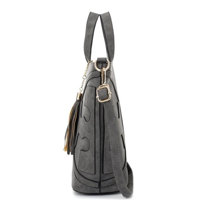 Wanita Kasual Pegangan Panjang Bahu Belanja Pu Kulit Mati Bucket Bag Tas Tangan .