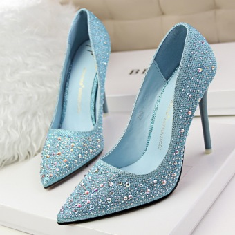 KOKO Fashion High-Heeled Shoes Woman Pumps Thin Heels Crystal High Heels Pointed Toe Closed Toe Ladies Wedding Shoes Women Shoes (Blue)
