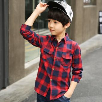 Korea Modis Gaya Anak Laki-laki Baru Children Kotak-kotak Kemeja (Merah)
