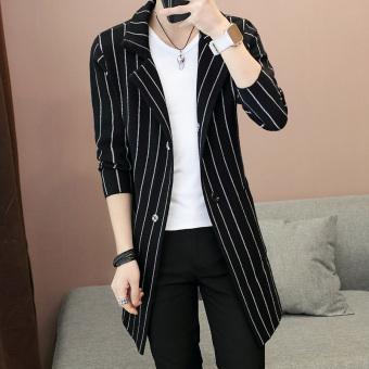 Jual Korea Fashion Style Bagian Panjang Musim Gugur Baru Sweter Kardigan Pria Jaket Jaket Hitam