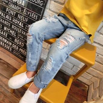 Korea Fashion Style baru anak perempuan dicuci celana jeans berwarna terang (Garis putih lubang Celana