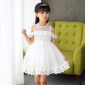 Harga Penawaran Korea Fashion Style baru renda renda kerah anak gaun putri gadis gaun (Putih