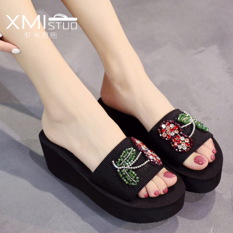 ... Korea Fashion Style Batu Kristal Air Perempuan Bertumit Tinggi Sandal Pantai Sendal 7400w Bertumit Tinggi