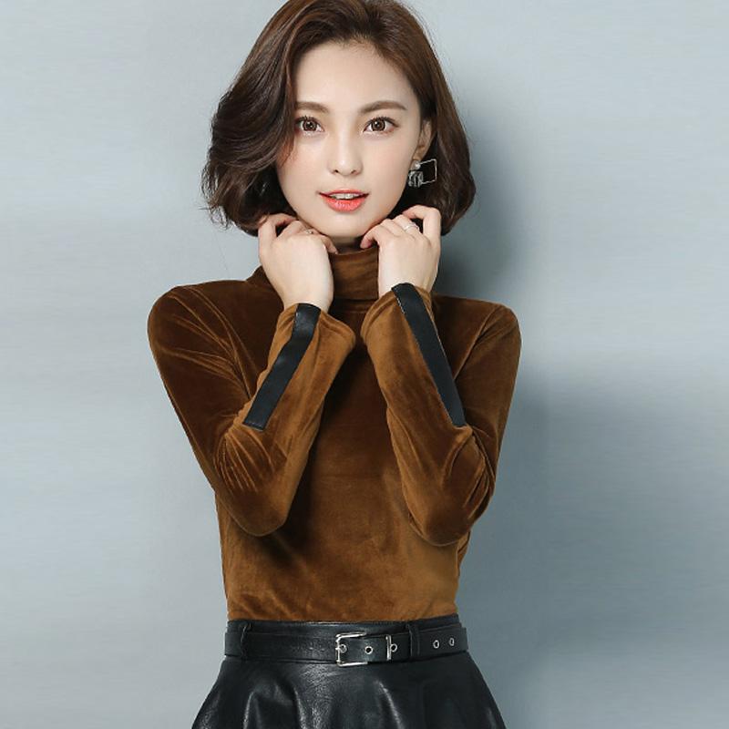 Korea Fashion Style beludru emas berleher tinggi lengan panjang t-shirt kemeja kecil bottoming kemeja