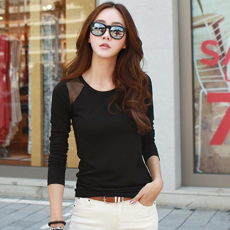 Flash Sale Korea Fashion Style benang jaring perempuan Slim jahitan t-shirt bottoming kemeja (Hitam)