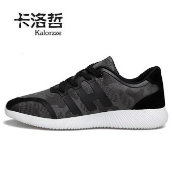 Korea Fashion Style bernapas jala lari pria sepatu olahraga sepatu pria (Model laki-laki + Abu-abu)