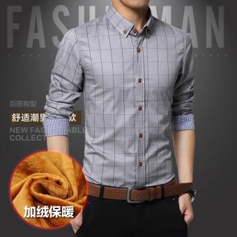 Harga Penawaran Korea Fashion Style ditambah beludru remaja laki-laki kemeja tebal baju kemeja (