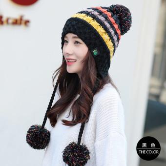 Korea Fashion Style ditambah beludru siswa muda topi topi (Hitam)