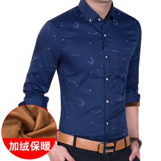 Korea Fashion Style ditambah beludru Slim cetak hangat baju kemeja pria kemeja (10 model ditambah