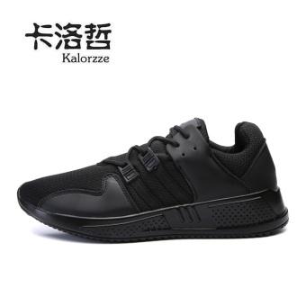 Korea Fashion Style jala pria sepatu pasang sepatu sepatu kebugaran sepatu kasual (Model laki-laki + Hitam)