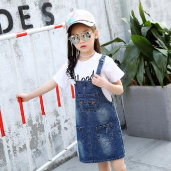 Korea Fashion Style Kapas Baru Anak-anak Gaun Gadis Denim Dress Tali (One-