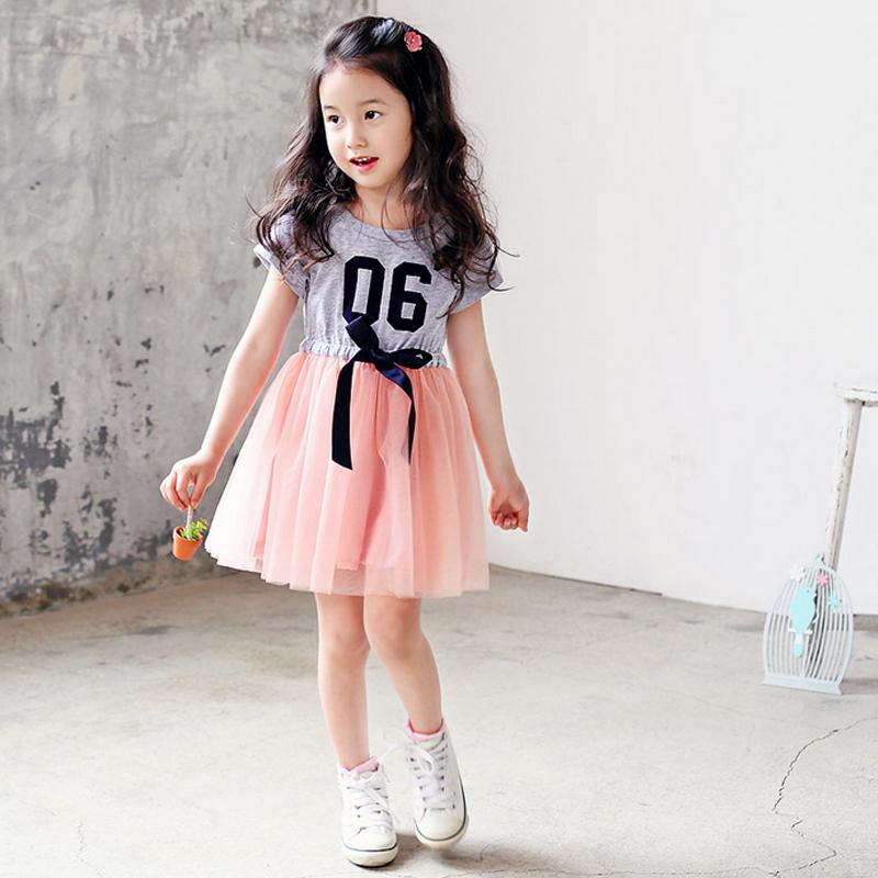 Korea Fashion Style Kasa Lengan Pendek Rok Gadis Gaun Merah muda Merah muda .