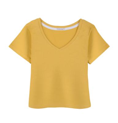 Korea Fashion Style Katun Di Atas Pusar Hitam Lengan Pendek V-neck T-shirt
