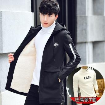 Jual Korea Fashion Style Laki Laki Bagian Panjang Pria Empuk Musim Dingin Jas 0059 Hitam Di