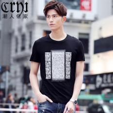 Korea Fashion Style laki-laki lengan pendek pemuda bottoming kemeja Slim lengan pendek t-