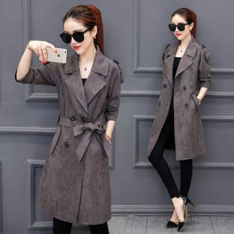 Online murah Korea Fashion Style lengan panjang dan bagian yang panjang style suede jas wanita jaket