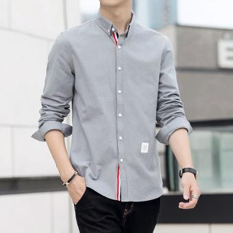 Jual Korea Fashion Style Lengan Panjang Pria Kemeja Slim Baru Baju Kemeja Abu Abu Di