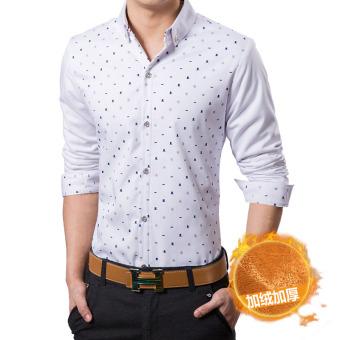 Jual Korea Fashion Style Lengan Panjang Slim Shirt Cetak Kemeja Pria Topi Ditambah Beludru