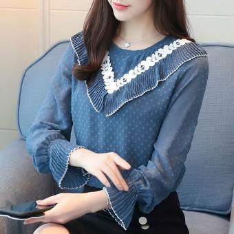 Korea Fashion Style Lengan Panjang Wanita Renda Kemeja Kemeja Sifon (Biru)