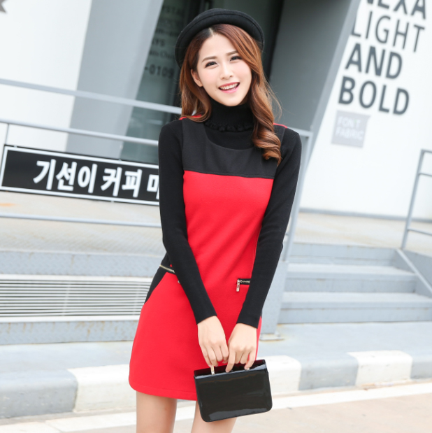 Flash Sale Korea Fashion Style mantra warna style rok rompi Slim Gaun (Merah)