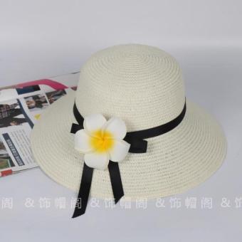 ... Diskon Penjualan Korea Fashion Style matahari musim panas pantai topi jerami topi pantai Susu putih