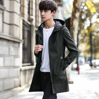 Jual Korea Fashion Style Musim Gugur Baru Slim Berkerudung Jaket Jaket Pria Tentara Hijau Di