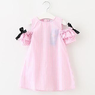Korea Fashion Style musim panas baru anak perempuan lengan pendek gaun (Merah muda)