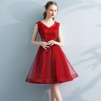 Online murah Korea Fashion Style pengantin bagian panjang gaun pengantin toast pakaian (Merah) Bandingkan