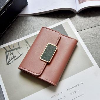 Korea Fashion Style perempuan baru lipat dompet wanita kecil wallet (Merah muda)