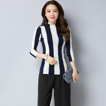 Review of Korea Fashion Style perempuan bergaris leher bulat lengan panjang kemeja musim gugur baru sweater