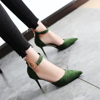 Korea Fashion Style perempuan dengan kata sepatu gesper baik dengan sepatu hak tinggi (Hijau [