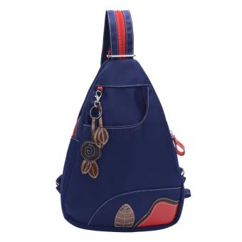 Korea Fashion Style perempuan fashion tas dada tas nilon bahu (Biru tua) ( Biru