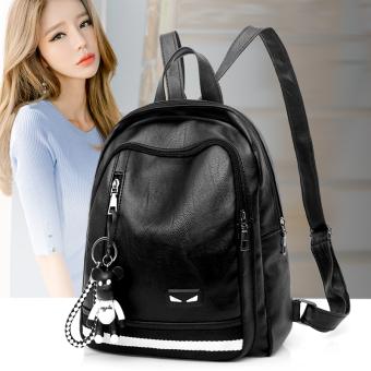 Korea Fashion Style perempuan kulit yang lembut Mini tas tas ransel (Hitam)