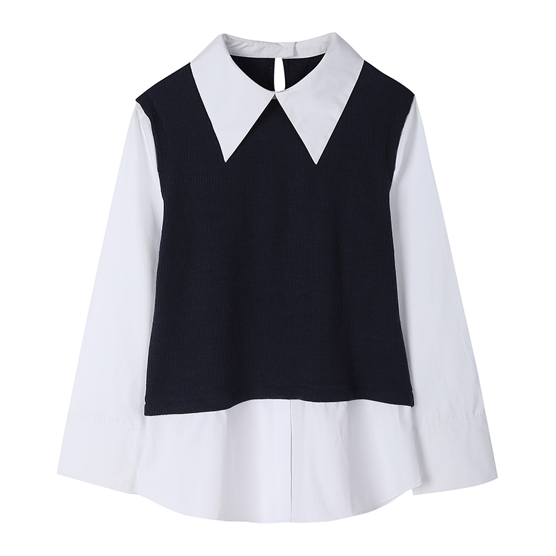 Korea Fashion Style Perempuan Lengan Panjang Seolah-olah Dua Potongan Atasan Kemeja Putih (Biru