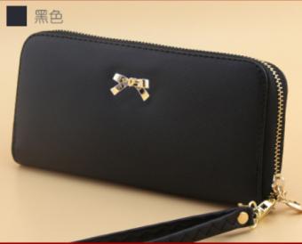 Korea Fashion Style perempuan siswa handphone dan dompet dompet kartu bagian panjang dompet (Hitam)