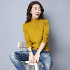 Korea Fashion Style Perempuan Slim kemeja bottoming tipis merajut kemeja (Kuning)