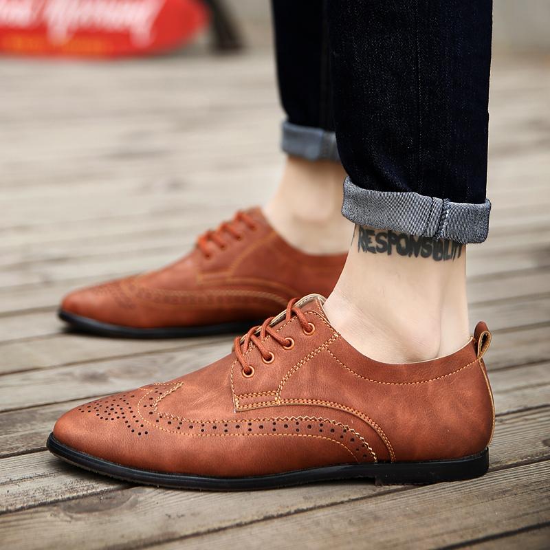 Flash Sale Korea Fashion Style Pria Bisnis Sepatu Kulit Kecil Sepatu Kulit  Kacang (Coklat) cc1bb4168c